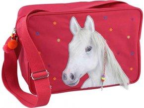 Taška přes rameno Miss Melody S motiven koně, červená
