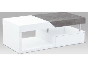 Konferenční stolek 120x60x42, MDF bílý mat/dekor beton, 2 šuplíky