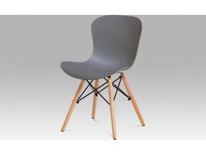 Jídelní židle, šedý vroubkovaný plast / natural