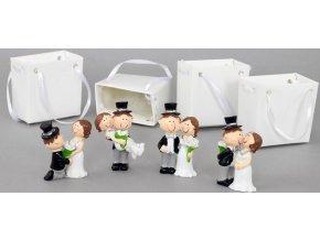 Nevěsta a ženich v papírové krabičce, dekorace z polystounu , box 12 kusů, cena za 1 pár