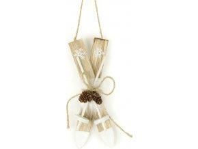 Lyže, dřevěná vánoční dekorace s plyšem na zavěšení, barva přírodní
