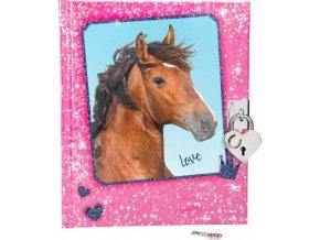 Deníček se zámkem Horses Dreams Růžový