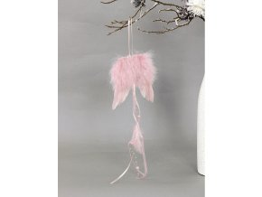 Andělská křídla z peří, barva růžová,  baleno 12 ks v polybag. Cena za 1 ks.