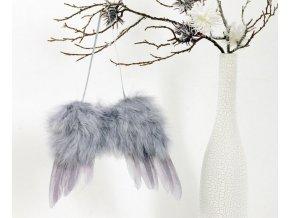 Andělská křídla z peří , barva šedá,  baleno 1 ks v polybag. Cena za 1 ks.