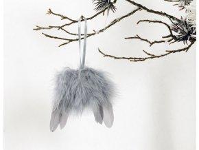 Andělská křídla z peří , barva šedá,  baleno  12 ks v polybag. Cena za 1 ks.