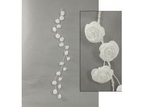 Girlanda z pěnových růžiček, barva bílá , umělá dekorace