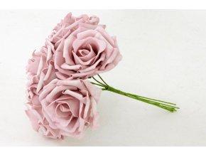 Puget ze 6kusů pěnových  růžiček, barva lila, umělá dekorace