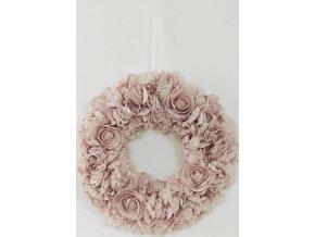 Věnec z pěnových růžiček, barva lila, umělá dekorace