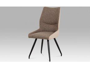 Jídelní židle koženka cappuccino + látka / černá kov