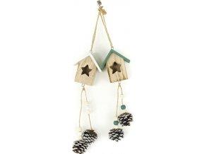 Budka, dřevěná vánoční dekorace na zavěšení, mix 2 druhů, cena za 1 kus
