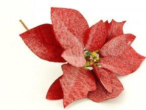Vánoční růže, poinsécie , umělá květina vazbová, červená zasněžená