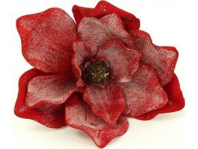 Magnolie, umělá květina vazbová, červená zasněžená