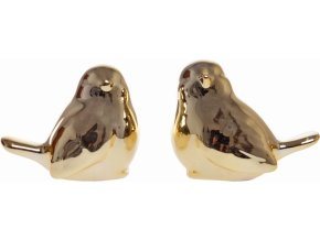 Keramický ptáček zlatý 6,5 cm