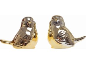 Keramický ptáček zlatý 10 cm