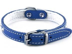 B & F Obojek kožený podšitý 1,2x27cm modrý zdobený jehlánky