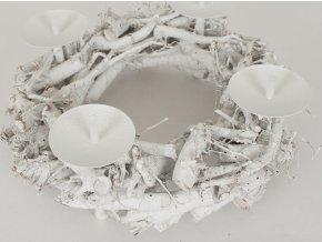 Svícen z větví - bílý