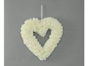 Srdce z pěnových růžiček, barva bílá, umělá dekorace