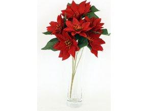 Umělá květina - puget vánočních růží, poinsécek červených (7hlav)
