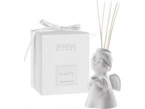 Keramický difuzér Millefiori Milano Lovely, anděl, 5 tyčinek, bílý
