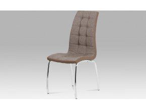 Jídelní židle, hnědá látka + ekokůže, chrom
