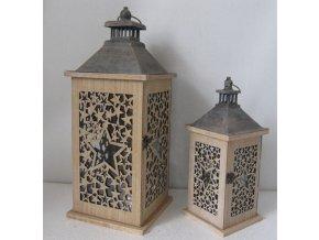 Lucerna dřevěná, sada 2 kusy, barva přírodní antik