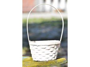 Bambusový košík s uchem, bílý 21x16x10,5 cm