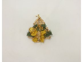 Vánoční ozdoba   stromeček s andílkem   13x13x5cm