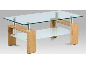 Konferenční stolek 110x60x45 cm, divoký dub / čiré sklo 8 mm
