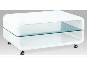 Konferenční stolek 90x60x40, MDF bílý vysoký lesk, čiré sklo, 4 kolečka