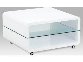 Konferenční stolek 80x80x40, MDF bílý vysoký lesk, čiré sklo, 4 kolečka