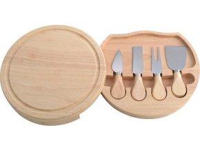 Nože na sýry s dřevěným prkénkem