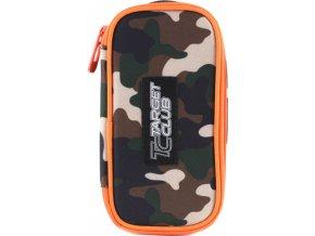 Školní penál Target jednopatrový, hnědý, oranžový zip