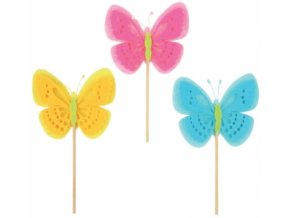 Zápich motýl z filcu na špejli 7cm