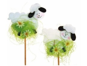 Zápich ovečka z filcu s květinkami na špejli 8cm