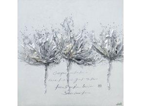 Obraz - 3 šedé květy, ruční olejomalba na plátně