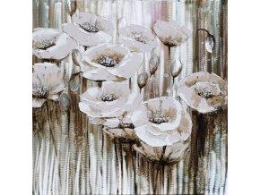 Obraz - květiny, ruční olejomalba s kovovými exekty