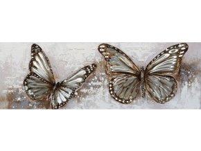 Obraz - motýl, ruční olejomalba s kovovými efekty