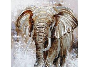 Obraz - slon, ruční olejomalba s kovovými exekty