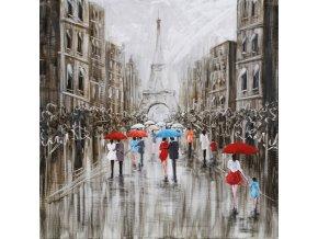 Obraz - Paříž, ruční olejomalba s kovovými exekty