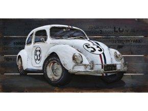 Obraz - bílé auto, ruční olejomalba na dřevě s kovovými efekty