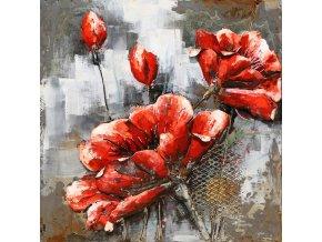 Obraz - červené květy, ruční olejomalba na kovu