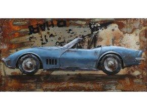 Obraz -  modré auto, ruční olejomalba na kovu