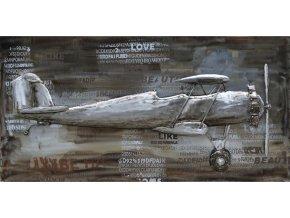 Obraz - letadlo, ruční olejomalba na kovu