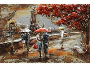 Obraz - Paříž, ruční olejomalba na kovu