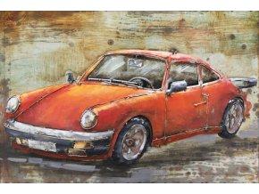 Obraz - červené auto, ruční olejomalba na kovu