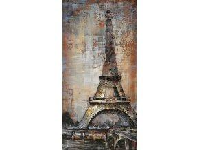 Obraz - Eiffelova věž, ruční olejomalba na kovu