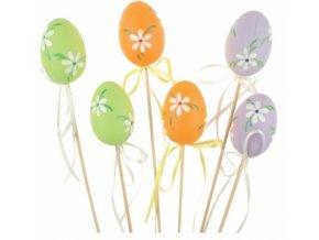 Zápich vajíčko plastové s kytičkou na špejli 6cm