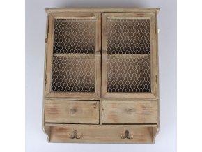 Závěsná dřevěná skříňka hnědá 52x61,5x13cm