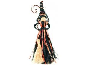 Čarodějnice s černooranžovou sukní 20cm