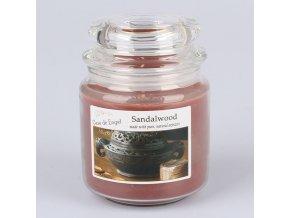 Vonná svíčka ve skle se skleněným víčkem Santalové dřevo 360g